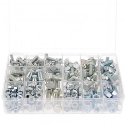 Koffer met 800 zeskantige kop + moeren M4-M5-M6 Verzinkt gebichromatiseerd staal 8.8 Din 933