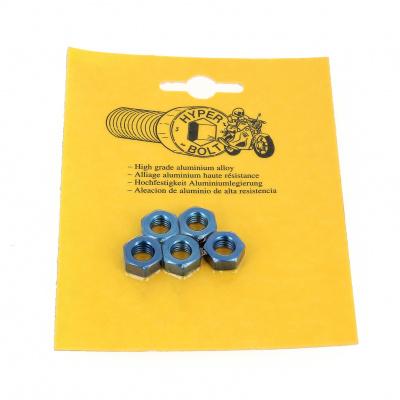 Blister met 5 zeskantmoeren P40 OA blauw
