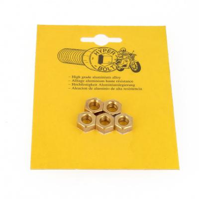Blister met 5 zeskantmoeren P40 OA goud